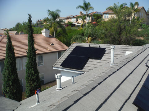 black solar panels on roof
