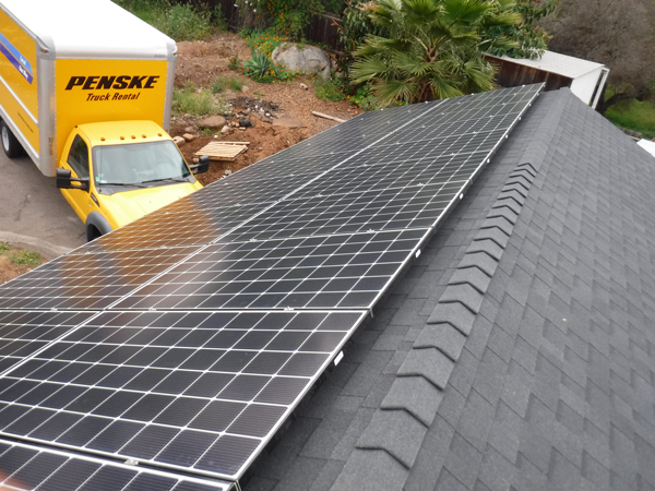 composite shingle solar installation
