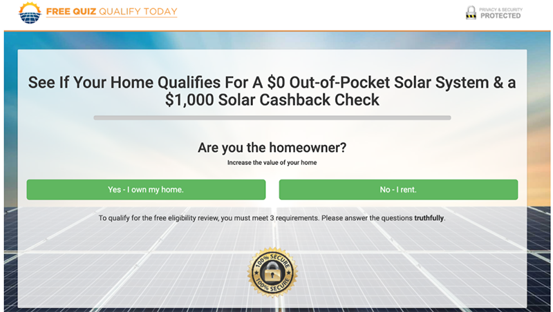 solar qualification landing page
